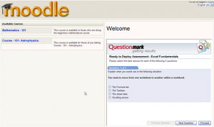 Embedded assessment in a Moodle page