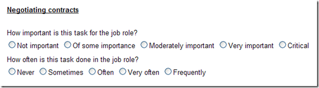Screenshot of Job Task Analysis Survey