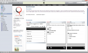 Screenshot of Questionmark app on iTunes