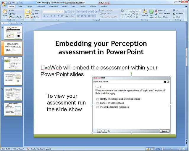 Snapshot of embedding assessmnets in PowerPoint