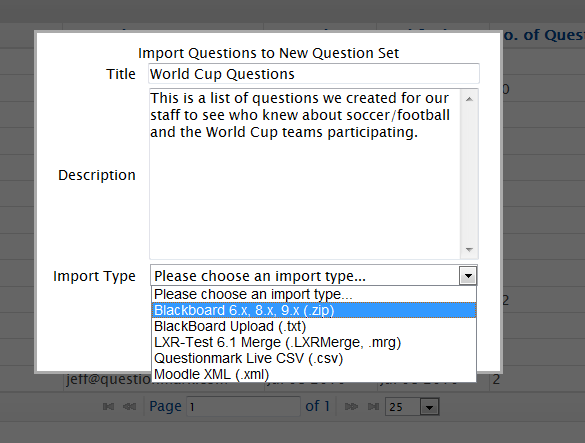Import BlackBoard 8 and 9 Question Pools into Questionmark