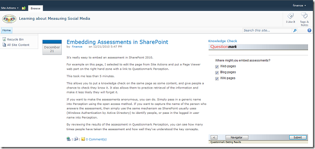 embed assessment sharepoint 2010
