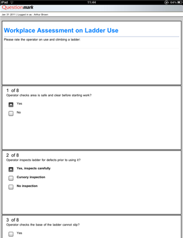 Workplace assessment on ladder use