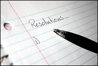 "Paper with ""Resolutions"" written on it implying one is about to write some resolutions down"