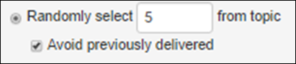 "Dialog box that shows when you randomly select 5 questions from a topic, you can tick on ""Avoid previously delivered"""