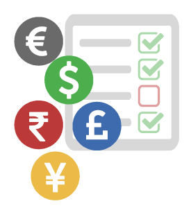 Picture of a tablet being used to take an assessment with currency symbols adjacent