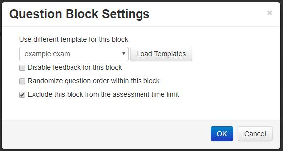 Screenshot showing a setting where it is possible to exclude material from the assessment time limit